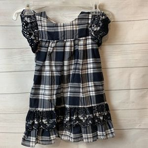 NWT Girls Navy Plaid Dress with Lace